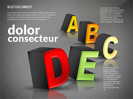 3D Letters, Slide 13, 02735, Education Charts and Diagrams — PoweredTemplate.com