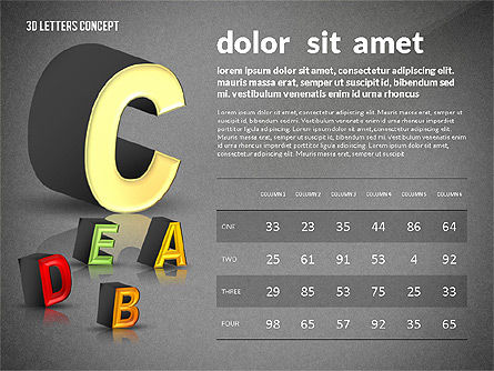 3D Letters, Slide 16, 02735, Education Charts and Diagrams — PoweredTemplate.com
