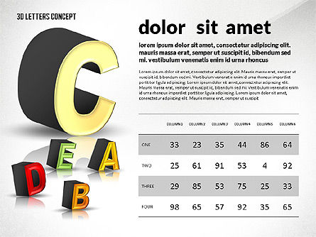 3D Letters, Slide 8, 02735, Education Charts and Diagrams — PoweredTemplate.com
