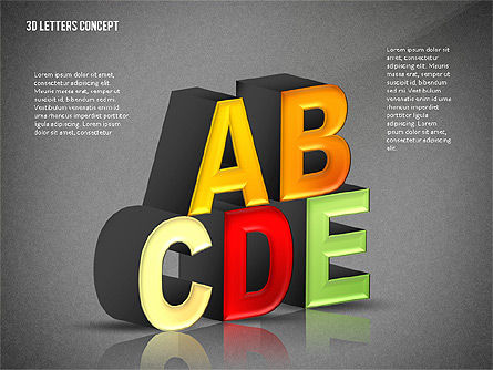 3D Letters, Slide 9, 02735, Education Charts and Diagrams — PoweredTemplate.com