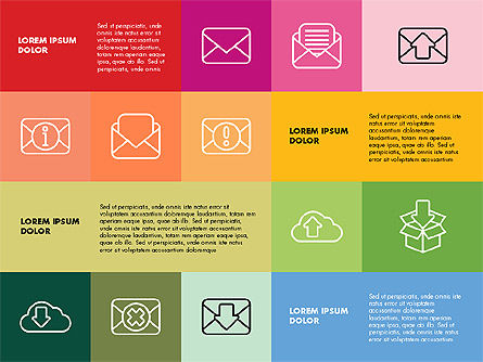 Flat Presentation Template with Icons, 02736, Presentation Templates — PoweredTemplate.com