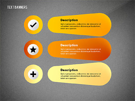 Creative Text Banners with Icons, Slide 15, 02737, Text Boxes — PoweredTemplate.com