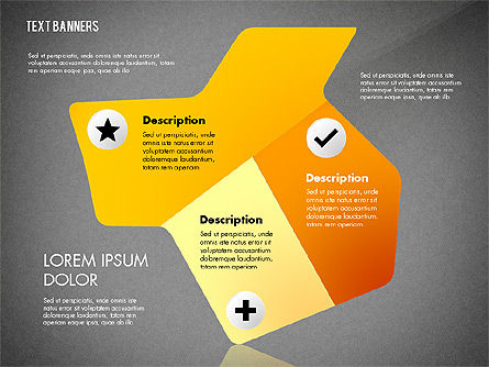Creative Text Banners with Icons, Slide 9, 02737, Text Boxes — PoweredTemplate.com