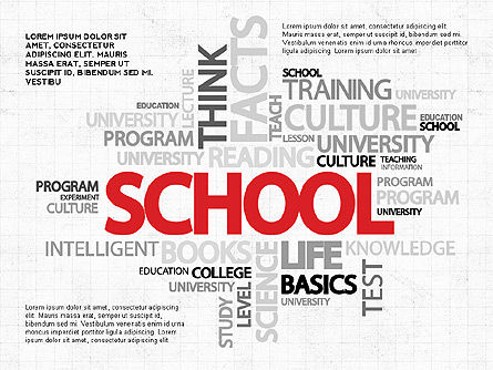Education Charts and Diagrams: Education Word Cloud Modern Presentation Template #02752
