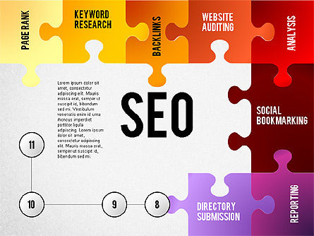 SEO Presentation with Puzzle Stages, Slide 8, 02796, Puzzle Diagrams — PoweredTemplate.com