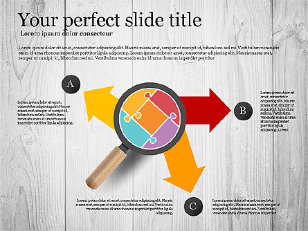 Puzzle and Stages with Magnifier Toolbox, Slide 8, 02814, Puzzle Diagrams — PoweredTemplate.com