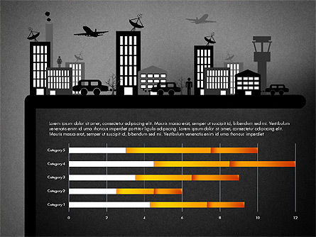 Presentation with Airport Silhouette, Slide 10, 02890, Presentation Templates — PoweredTemplate.com