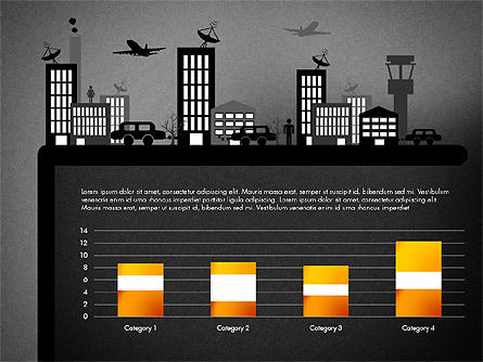 Presentation with Airport Silhouette, Slide 14, 02890, Presentation Templates — PoweredTemplate.com