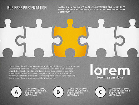 Puzzle Shapes and Silhouettes, Slide 11, 02894, Puzzle Diagrams — PoweredTemplate.com
