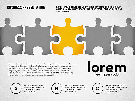 Puzzle Shapes and Silhouettes, Slide 3, 02894, Puzzle Diagrams — PoweredTemplate.com