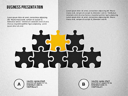 Puzzle Shapes and Silhouettes, Slide 7, 02894, Puzzle Diagrams — PoweredTemplate.com