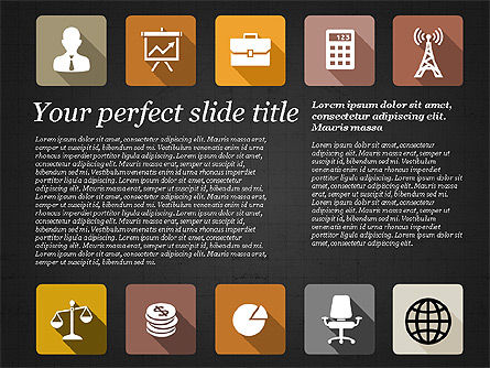 Presentation with Flat Design Icons, Slide 10, 02905, Icons — PoweredTemplate.com