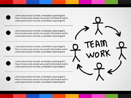 Teamwork Concept with Doodle Shapes, 02916, Presentation Templates — PoweredTemplate.com