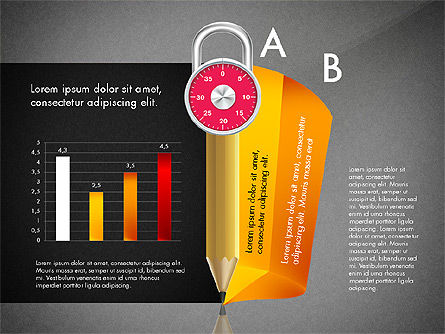 Infographics with Pencil and Manometer, Slide 11, 02917, Infographics — PoweredTemplate.com