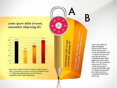 Infographics with Pencil and Manometer, Slide 3, 02917, Infographics — PoweredTemplate.com
