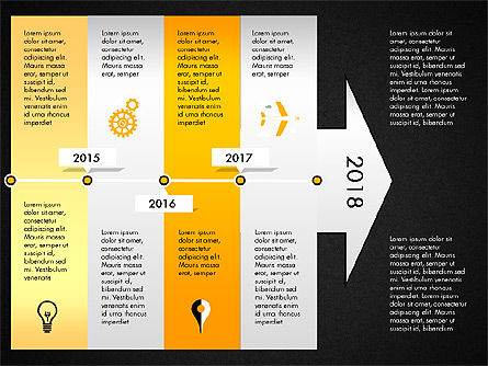 Timeline with Stages and Icons, Slide 14, 02924, Timelines & Calendars — PoweredTemplate.com