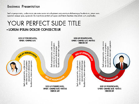 Business Presentation with Flat Designed Shapes, 02928, Presentation Templates — PoweredTemplate.com