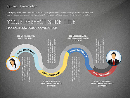 Business Presentation with Flat Designed Shapes, Slide 9, 02928, Presentation Templates — PoweredTemplate.com