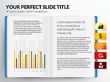 Open Book with Bookmarks and Data Driven Charts, Slide 6, 02941, Data Driven Diagrams and Charts — PoweredTemplate.com
