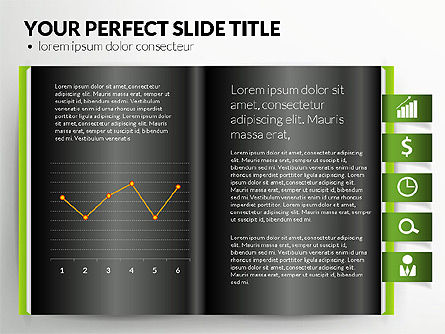Open Book with Bookmarks and Data Driven Charts, Slide 9, 02941, Data Driven Diagrams and Charts — PoweredTemplate.com
