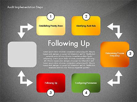 Audit Implementation Steps Diagram, Slide 14, 02945, Business Models — PoweredTemplate.com