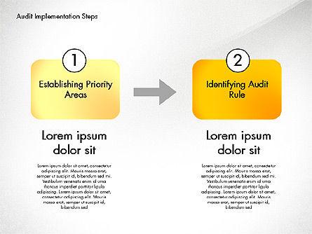 Audit Implementation Steps Diagram, Slide 8, 02945, Business Models — PoweredTemplate.com