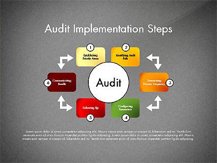 Audit Implementation Steps Diagram, Slide 9, 02945, Business Models — PoweredTemplate.com