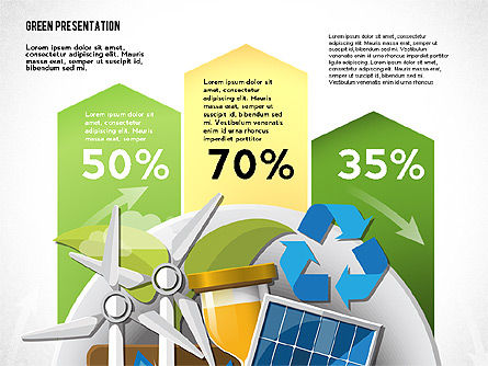 Green Presentation Template with Infographics, 02957, Presentation Templates — PoweredTemplate.com