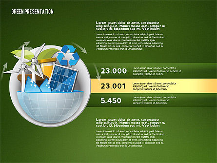 Green Presentation Template with Infographics, Slide 10, 02957, Presentation Templates — PoweredTemplate.com