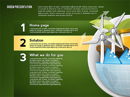 Green Presentation Template with Infographics, Slide 11, 02957, Presentation Templates — PoweredTemplate.com