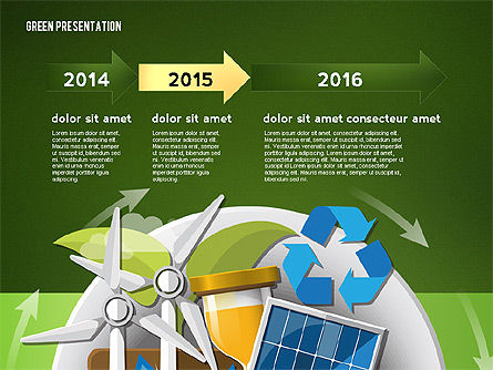 Green Presentation Template with Infographics, Slide 13, 02957, Presentation Templates — PoweredTemplate.com