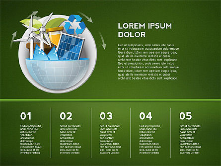 Green Presentation Template with Infographics, Slide 14, 02957, Presentation Templates — PoweredTemplate.com