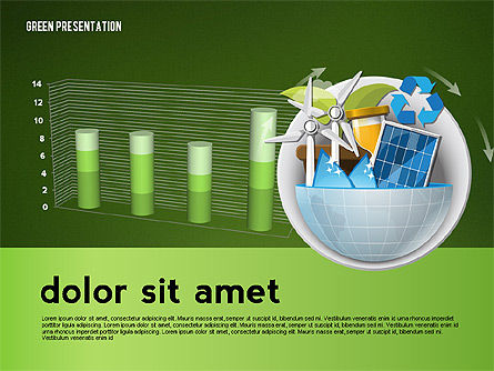 Green Presentation Template with Infographics, Slide 15, 02957, Presentation Templates — PoweredTemplate.com