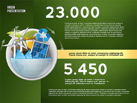 Green Presentation Template with Infographics, Slide 16, 02957, Presentation Templates — PoweredTemplate.com
