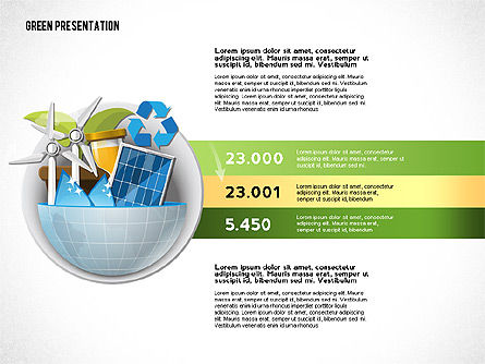 Green Presentation Template with Infographics, Slide 2, 02957, Presentation Templates — PoweredTemplate.com