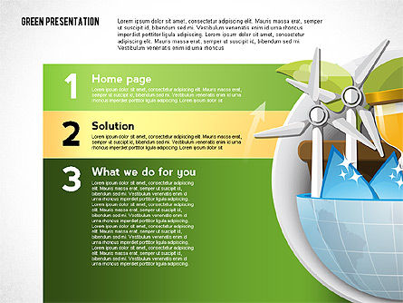 Green Presentation Template with Infographics, Slide 3, 02957, Presentation Templates — PoweredTemplate.com