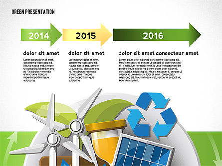 Green Presentation Template with Infographics, Slide 5, 02957, Presentation Templates — PoweredTemplate.com