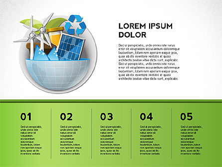 Green Presentation Template with Infographics, Slide 6, 02957, Presentation Templates — PoweredTemplate.com