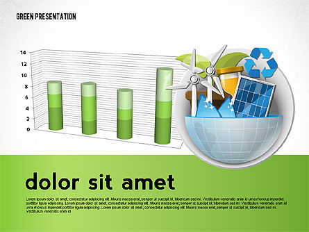 Green Presentation Template with Infographics, Slide 7, 02957, Presentation Templates — PoweredTemplate.com