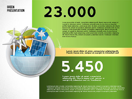 Green Presentation Template with Infographics, Slide 8, 02957, Presentation Templates — PoweredTemplate.com