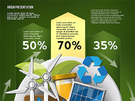 Green Presentation Template with Infographics, Slide 9, 02957, Presentation Templates — PoweredTemplate.com