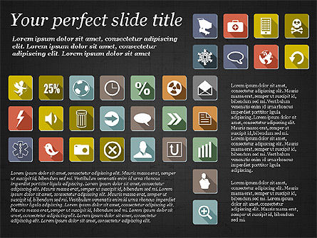 Presentation Template with Flat Icons, Slide 10, 02964, Icons — PoweredTemplate.com