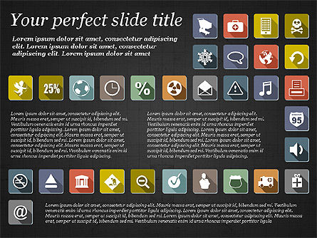 Presentation Template with Flat Icons, Slide 13, 02964, Icons — PoweredTemplate.com