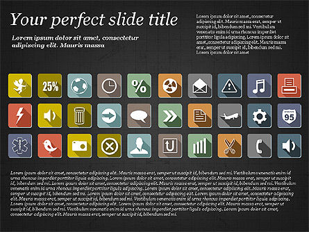 Presentation Template with Flat Icons, Slide 16, 02964, Icons — PoweredTemplate.com