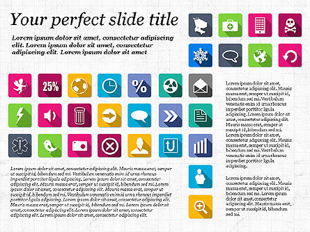 Presentation Template with Flat Icons, Slide 2, 02964, Icons — PoweredTemplate.com