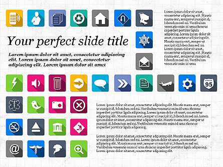 Presentation Template with Flat Icons, Slide 6, 02964, Icons — PoweredTemplate.com