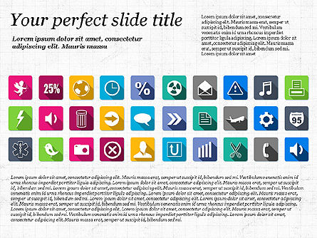 Presentation Template with Flat Icons, Slide 8, 02964, Icons — PoweredTemplate.com