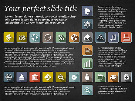 Presentation Template with Flat Icons, Slide 9, 02964, Icons — PoweredTemplate.com