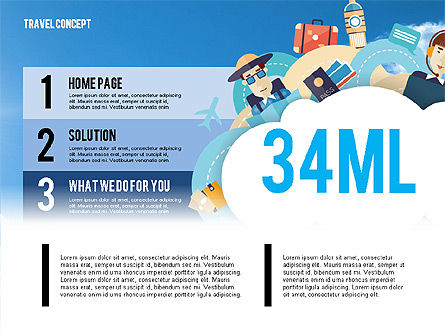 Travel Infographics Presentation Template, 02975, Presentation Templates — PoweredTemplate.com