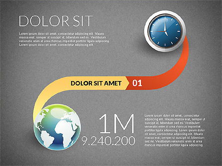Clock and Globe Infographics Concept, Slide 10, 02989, Infographics — PoweredTemplate.com